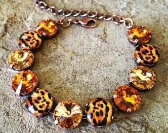 CHEETAH-LICIOUS 12mm Swarovski crystal bracelet set in copper - animal print inspired neutral-toned cheetah bracelet