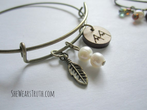 Mountain Mover / Bangle / Stacking Charm Bracelet / Expandable / Feather Charm / Freshwater Pearl / Antique Brass / Made in Ohio