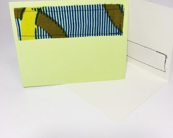 African Print Greeting Card // Blue and Green Blank Card // Handmade Fabric Greeting Card // With Envelope