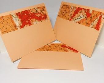 Orange African Print Blank Cards // Handmade Greeting Card With Envelope // Orange and Gold Blank Greeting Card