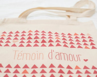 "Totebag ""witness of love"" fushia and orange - bag fabric - bridesmaid gift"