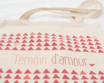 "Totebags ""witness of love"" fushia and orange - bag fabric - bridesmaid gift"