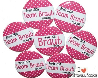 10 x wedding buttons hen JGA pink white points JGA buttons name personalized
