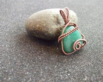 Wire wrapped green aventurine pendant,copper pendant,aventurine,aventurine pendant,green aventurine,pendant,wire pendant,wirewrapped,jewelry
