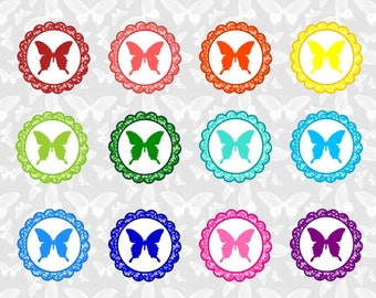Rainbow Colored Butterfly Cupcake Toppers- INSTANT DOWNLOAD!!!