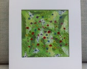 Summer Wildflower Meadow Textile Wallart Handmade Unique