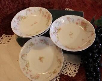 Set of 4 Antique Floral Berry Bowls Dessert Dishes - Hutschenreuther Selb Bavaria