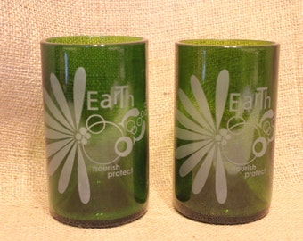 Tumblers made from wine bottles.