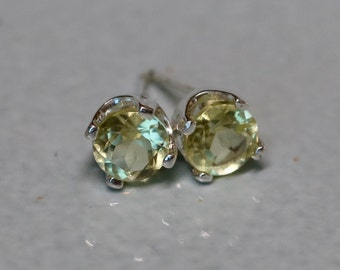 Natural Lemon Quartz Silver Earrings - Sunny Yellow Argentium Silver 5mm Genuine Gemstone Studs