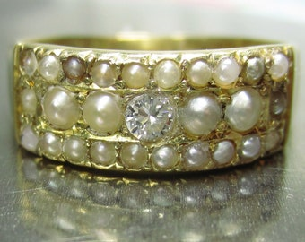 Antique 18ct Diamond and 26 Pearls Victorian Ring 1883 Chester Size 7 (UK O) 3.7 grams