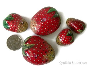 Strawberry,painted rocks,garden decor,strawberry stones,fruit painting,painted stawberry rocks,red stones,rock painting,fruit rocks,stones