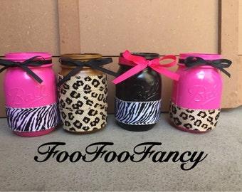 Leopard and zebra print mason jars