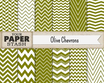 Olive Green Digital Paper, Olive Green, Chevron, Zig Zag, Stripes, Autumn, Thanksgiving, Halloween, Fall, Digital Paper, Scrapbook Paper