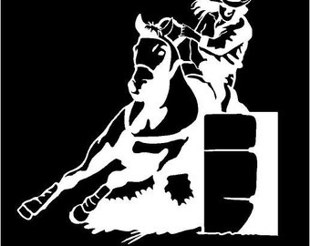 Vinyl Decal Barrel Racer girl rodeo horse truck country bumper sticker car truck laptop