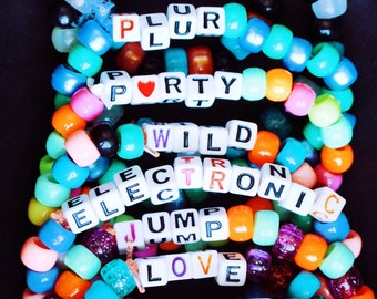 10 Custom Kandi Bracelet (Glow in the Dark, Neon Beads, Word(s) of choice) Bundle