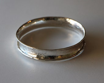 Large Bangle or Arm Ring Argentium Silver