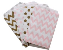 Party Favor Bag, Paper Favor Bags, Gold and Light Pink Polka Dot Chevron Paper Favor Bags, Glam 1st Birthday Party, Baby Shower Treat Bags