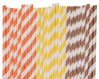 Paper Straw Mix, Autumn Paper Straws, Orange Yellow Brown Striped Thanksgiving Dinner Paper Goods, Fall Carnival Party Supplies, Paper Straw