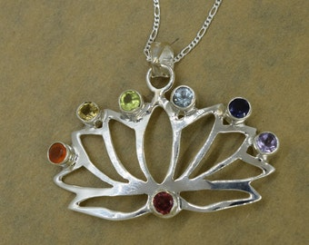 Sterling Silver Chakra Lotus Flower Pendant With Chain