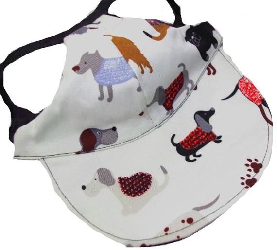 Dog Hat Small Cream Multi Breed Print Girl Boy Female Male