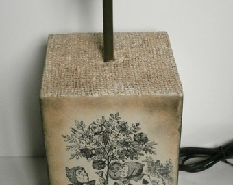 Alice in Wonderland Lamp Base Cube / Box Style Handmade /Decoupaged /Cards Painting Roses /Warm Earthy Tones