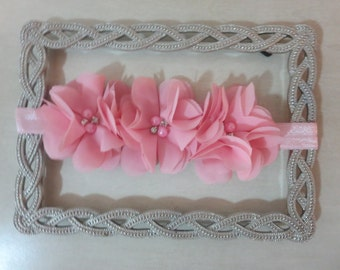 Chiffon flower trio headband