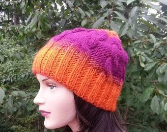 Unique handmade knitted hat. Tangerine Magenta Women Handmade Hat. Cable Knit hat. Knit Beanie. Wool Winter Hat.