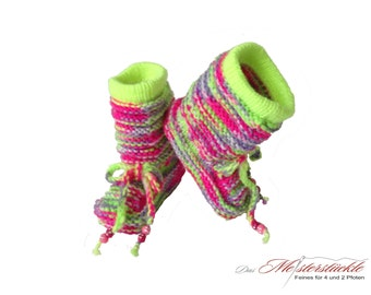 Neon-colored baby booties - baby hand knitted boots