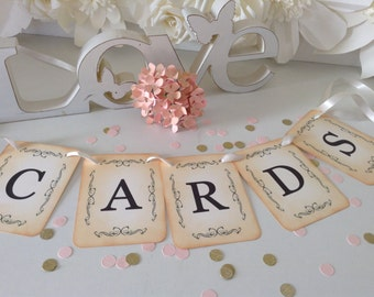 cards banner, garland sign, tag, photo props sign, vintage style, wedding