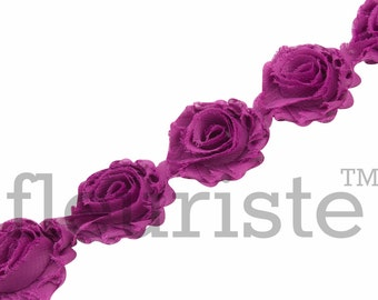PLUM PETITE Shabby Rose Trim, Petite Shabby Trim, Petite Shabby, Shabby Flower Trim, Shabby Flower, Shabby wholesale, Shabby by yard