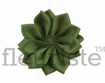 OLIVE Ribbon Flower, Satin flower, Fabric rose, Rolled Rosette, Wholesale Flower, Fabric Flower, Satin Flower, Satin Flowers, 3pc
