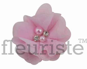 "LIGHT PINK 2"" Chiffon Flower, Wholesale Flower, Fabric Flower, Headband Flower, Wedding Flower, Flower Embellishment, Diy Flower, Headband"