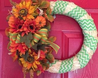 Orange and Yellow Straw Wreath