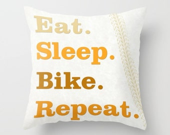 Eat Sleep Bike Repeat pillow, cushion, gift for cyclist, biker, home decor, gift for her, sports, cycling, pillow cover, bicycle, unique