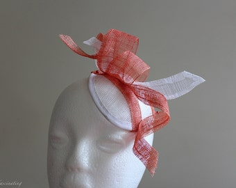 Copper and white sinamay fascinator perfect for spring races