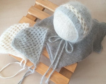 Angora newborn bonnet, Newborn Photo Props,Angora Bonnet, Knit Baby Hat, newborn props, newborn hat, photography props