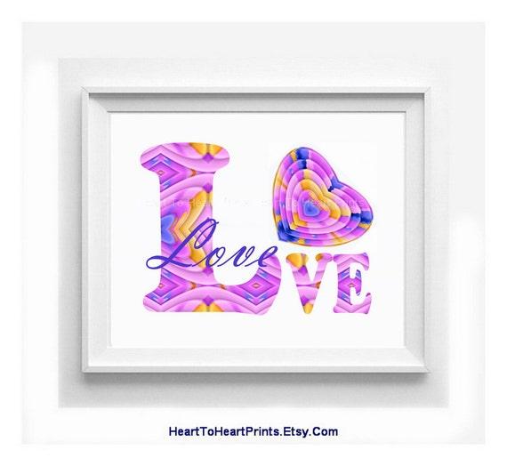 Wall Art Love Hearts : Nursery wall decor love heart art print by hearttoheartprints