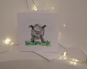 Hand pained  small Sheep card
