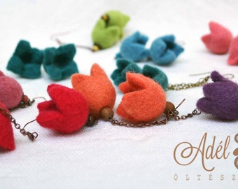 Tulip earrings - felt tulip earrings