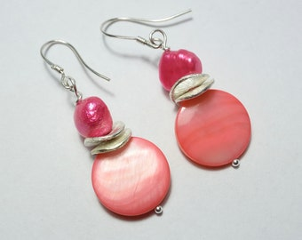 Pink Freshwater Pearl and pink Mother of Pearl Earrings