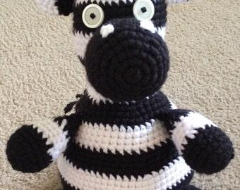 Zach the Zebra Pattern Toy/ Stuffed Animal/ Baby Toy/ Animal/ Amigurumi/ Zebra
