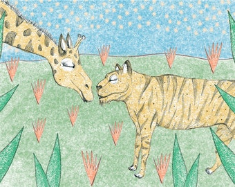 Giraffe & Tiger