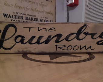 The Laundry Room Sign Primitive Sign Old wood Sign vintage signs cottage style sign rustic sign laundry sign