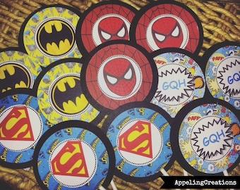 Superhero Cupcake Toppers, Super Hero Cupcake Toppers, Marvel Cupcake Toppers, Avengers, Spiderman Birthday, Super Hero Birthday, Batman