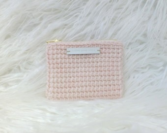 Pink Coin Purse - Tunisian Crochet