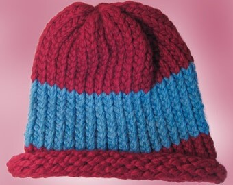 Red and Blue Winter Hat