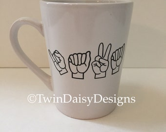 Java in American Sign Language (ASL) Coffee Mug, Coffee mug saying the word JAVA in ASL