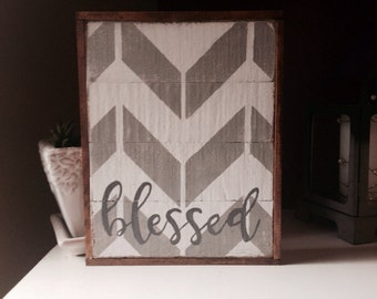 Blessed chevron rustic pallet wood sign - grey and white, farmhouse chevron, rustic chevron sign