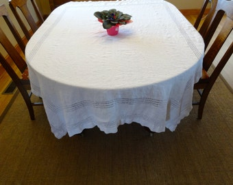 """White Linen Tablecloth with Drawn Work 74 1/2"""" X 56 1/2"""""""