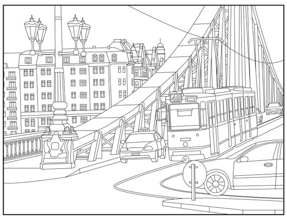 budapest adult coloring page coloring budapest hungary travel urban coloring page for